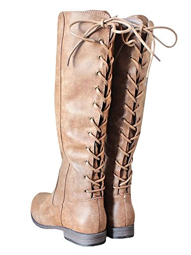 (Womens Laced-up Knee High Riding Boots Side Zipper Chunky Low Heel Faux Leather Shoes)