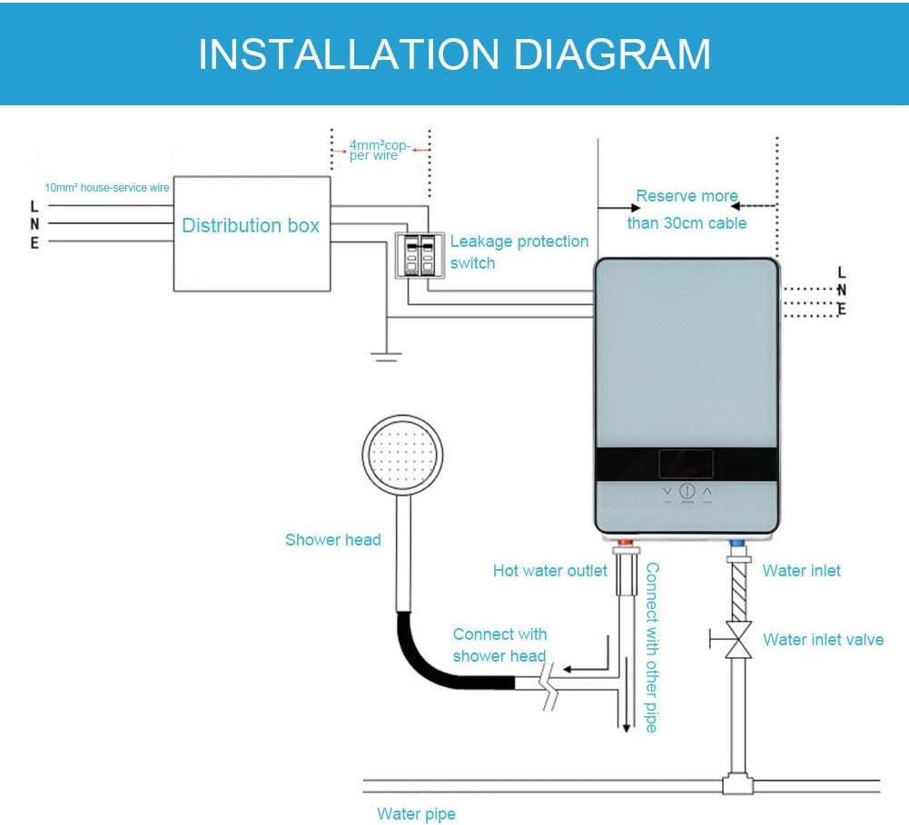 scaldabagno Elettrico istantaneo Sicuro Senza Serbatoio 220V 6500W con Display a LED per la Doccia del Bagno di casa Riscaldatore di Acqua istantaneo