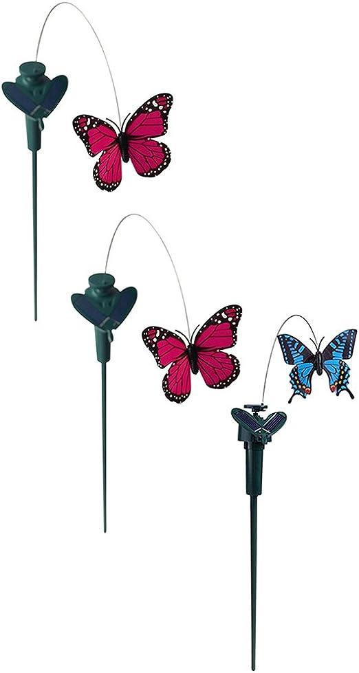 3 Unids Hermosa Mariposas Decorativas 3D Estacas Energía Solar Para Patio, Jardín, Cama de Flores: Amazon.es: Jardín