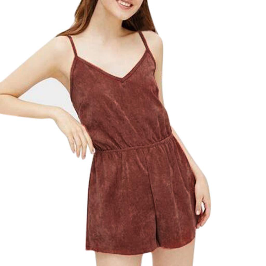 Psunrise Mono Women Fashion Causal Adjustable Strap V-Neck Elastic Waist Sleeveless Short Camis Jumpsuit(L, Black)