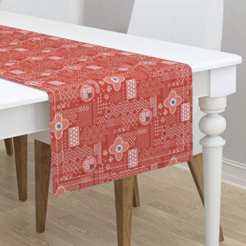 - Table Runner - Red Fauxboro Embroidery Geometric Japanese Thread Yarn Stitch Collage Abstract by Pennycandy - Cotton Sateen Table Runner 16 x 108