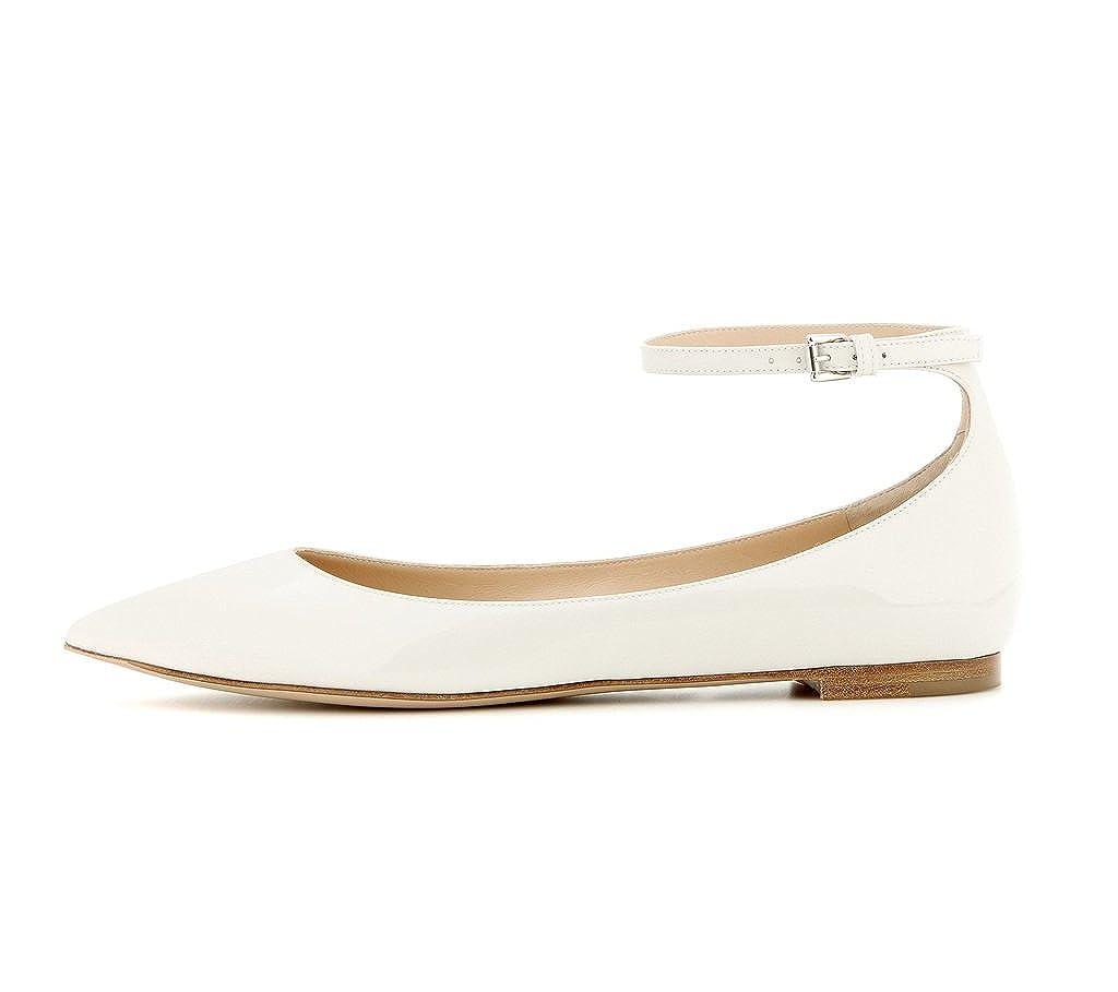 EDEFS - Chaussures Ballerines Femme - Chaussures - Plat - Classiques Pour Femmes - Bride Cheville 41 EU Blanc fa92f0