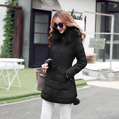 Plus Hooded Down Tight Cappotto Bigood Size Nero M Warm Ladies ABxqw5TR