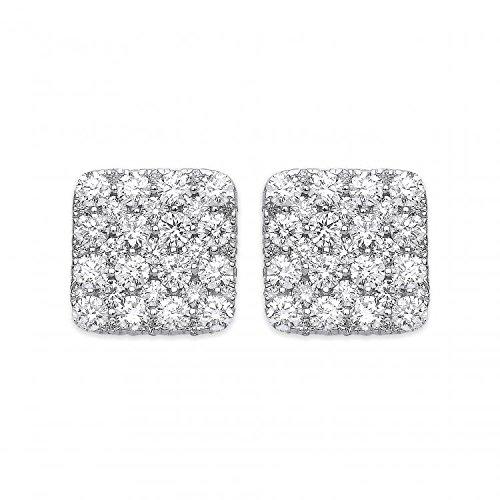 Jareeya-Or blanc 18ct/1000CT de grain carré Boucles d'oreille à tige