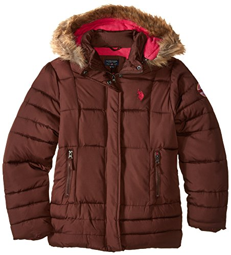 us-polo-assn-big-girls-faux-fur-trimmed-hooded-bubble-jacket-chocolate-7-8