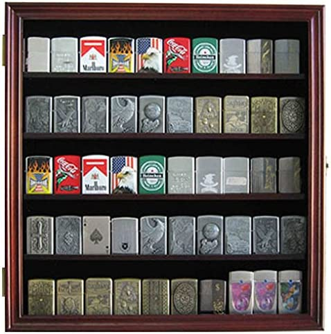 Military Sport Lighter Matchbook Display Case Wall Cabinet. LC01 Mahogany Finish