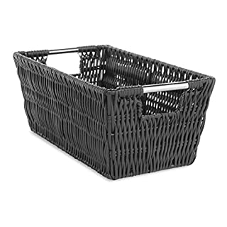 Whitmor Rattique Small Shelf Black Tote Basket