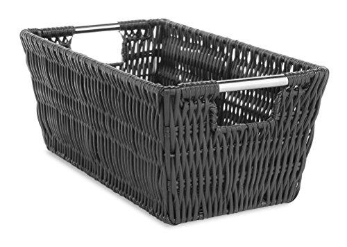 Whitmor Rattique Small Shelf Tote Black (Basket Storage Black)