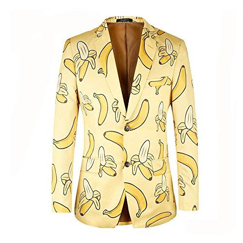 diecaprle Costume Blazer Casual Banana Printing Yellow Men Blazer (L(40R)) -
