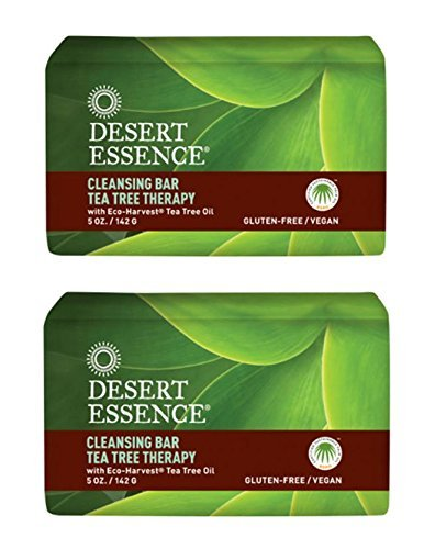 Desert Essence Cleansing Bar Tea Tree Therapy With Eco-Harvest Tea Tree Oil, 5 oz (142 g) (Pack of 2)