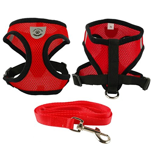 LLOVELYY Soft Breathable Air Nylon Mesh Puppy Dog Pet Cat Harness And Leash Set Red S
