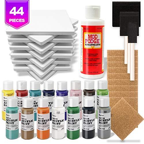 Ceramic Tiles for Crafts Coasters Kit,12 Ceramic White Tiles, Cork Backing Pads, Mod Podge Sealer, Acrylic Paint, Brushes, Tile Coaster Pouring Bundle