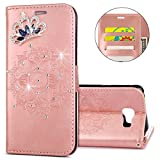 IKASEFU Galaxy A3 2016 A310F Case,Clear Crown Rhinestone Diamond Bling Glitter Wallet with Card Holder Emboss Mandala Floral Pu Leather Magnetic Flip Protective Cover for Samsung A3 2016,Rosa Gold