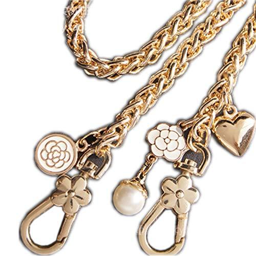 Balenciaga Handbag Strap - Iron Heart-Shaped + Flowers + Pearl Pendant Wide 8mm Twist Shape Golden Chain Strap for Replacement Women Bags Shoulder Bags Handbags Messenger Bags Purse Bags (Length 80 cm)