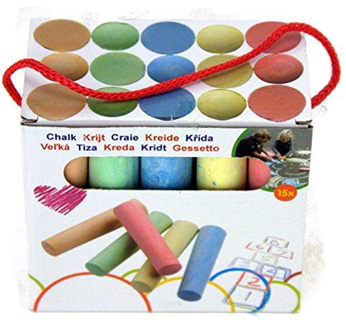 Straßen-malkreide für Kinder Strassenkreide in 5 Farben Straßenmalkreide 15 Stücke straßenkreide Länge 11cm in Karton mit Schnur zum Aufhängen