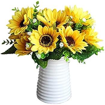 Calcifer 3 Sets 7 Stems Set 10 63 Sunflowers Artificial Flowers Bouquet For Home Decoration Wedding Decor
