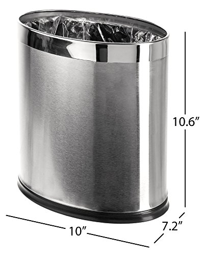 - Brelso 'Invisi-Overlap' Open Top Stainless Steel Trash Can, Small Office Wastebasket, Modern Home Décor, Oval Shape