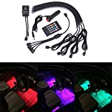 GHB Car Interior Underdash Lighting Kit 8 Color Car Interior Light LED 4 Pcs With Sound Active Function and Remote Control