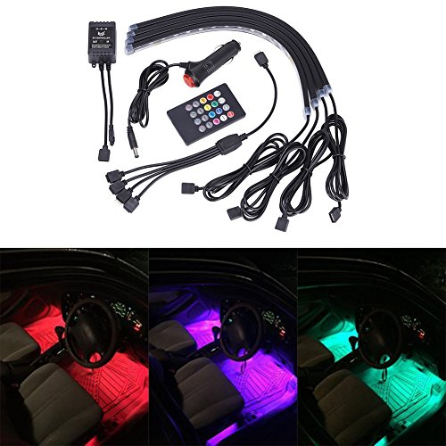 GHB Car Interior Underdash Lighting Kit 8 Color Car Interior Light LED 4 Pcs With Sound Active Function and Remote Control (Led Car Underdash Lights compare prices)