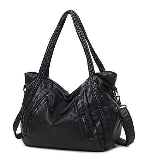 Hobo Black Bag Leather Woven - Big Capacity Slouchy Soft Leather Women Black Handbag Shoulder Hobo Bag Lady Tote Purse Crossbody Satchel (Large)
