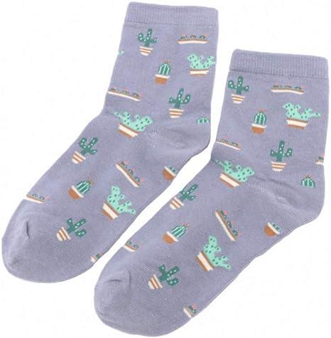 SUZNUO 5 Pares de Calcetines de algodón para Mujer Cactus ...