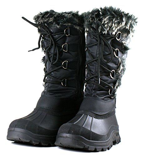 OwnShoe Women's Lace Up Fur Rubber Duck Snow Boots, Black 6 D(M) (Fur Lined Duck Boot)