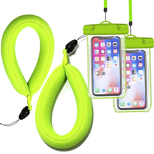JDHDL Waterproof Camera Float Strap with Waterproof Phone Case Universal Floating Wristband/Strap Works with G o Pro, Nikon, Canon, Sony, Pentax, Camcorders, Panasonic, Sunglass (Fluorescent Green)