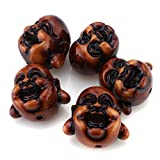 Beadnova Brown Wooden Color Faux Coral Happy Smiling Buddha Head Craft Beads for Bracelet Necklace Pendant Jewelry Making Findings