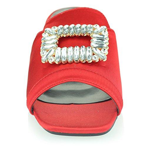Mujer Señoras Broche Detalle Diamante Ponerse Tacón de Bloque Noche Casual Fiesta Sandalias Zapatos Tamaño Rojo