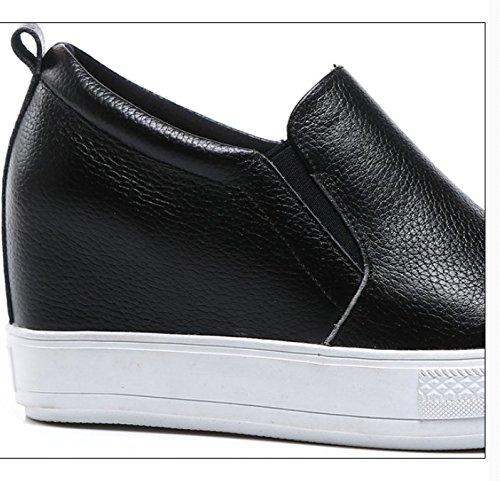 Cuero alta zapatos/Gruesos coreanos flat-bottom zapatos al final de/[zapatos casuales] A