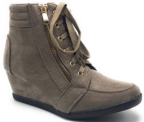 Wedge Accent Women's Zip Sneakers up Shoes Boot Peggy DEV Forever Hidden Adriana Taupe Lace Side fXvxxZU