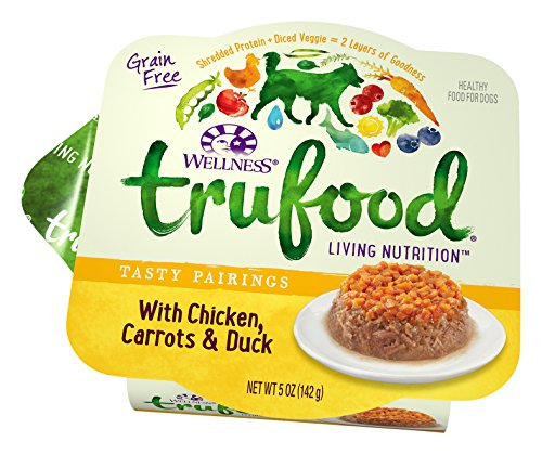 Wellness TruFood Tasty Pairings Natural Grain Free Wet Raw Dog Food, Chicken, Carrots & Duck, 5-Ounce Cup (Pack of 24) by Wellness Natural Pet Food