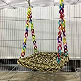 Bird Toys - Pet Toys Parrot Swing Hammock Toy Straw Perch Platform Hanging Bird Chew - Net Natural Ring Bridge Assorted And Ladder Items Pack Guitar