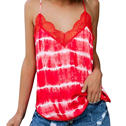 GHrcvdhw Women'sLace Tie Dyed Sleeveless Vest V-Neck Sexy Small Strap Sleeveless Short-Sleeved Shirt Vest Top Red