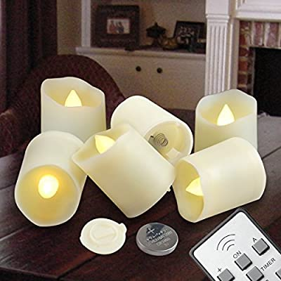 Flameless Candles LED Votive Unscented Tealight | Remote Control Timer Tea Lights | Include Battery Operated 200+ Hours | Flickering Amber Yellow Flame 3 Modes | Decoration Wedding Holiday By C.L.
