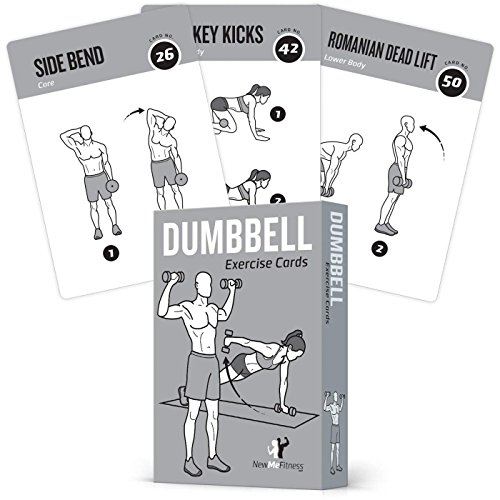 "Exercise Cards Dumbbell Vol 1 Home Gym Workouts Strength Training Building Muscle Total Body Fitness Guide Workout Routines Bodybuilding Personal Trainer Large Waterproof Plastic 3.5""x5"" Cards"