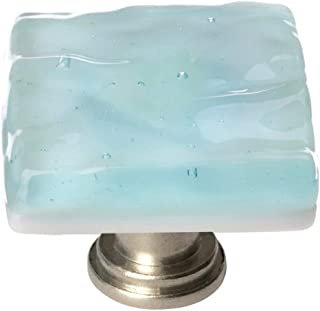 product image for Sietto K-208 Glacier Series 1-1/4 Inch Square Cabinet Knob with Light Aqua Glass, Satin Nickel