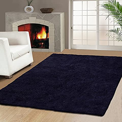 Superior Hand Tufted Elegant and Soft Navy Blue Shag Rug, 5 feet by 8 feet (5' x 8') (Shag Rug Navy Blue)