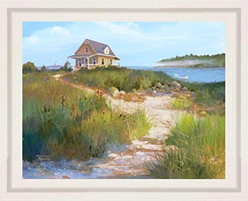 (buyartforless FRAMED Island Retreat by Jacqueline Penney 28x22 Art Print Poster Coastal Beach Dunes Cottage Seaside WIDE White Ribbed Frame )