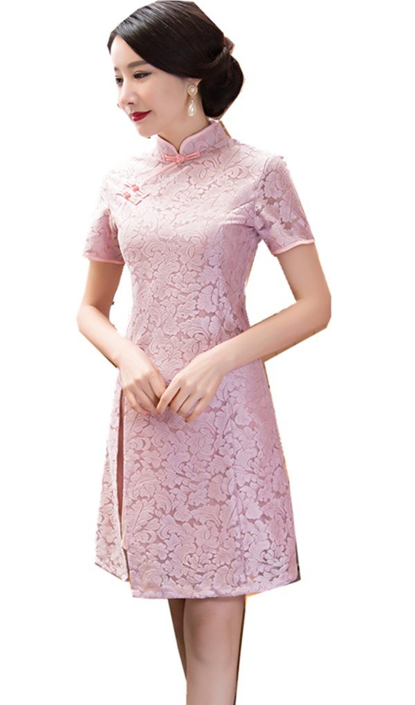 Shanghai Story Lace Qipao Dress Vintage Chinese Cheongsam Dresses XL Pink by Shanghai Story