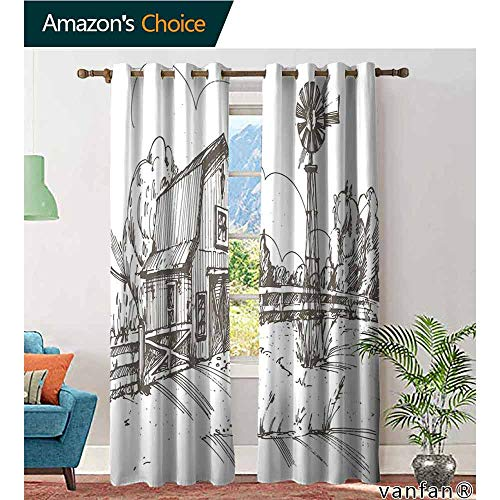 LQQBSTORAGE Windmill Decor,Curtains Room Darkening,Rustic Barn Farmhouse Hand Drawn Illustration Countryside Rural Meadow,Blackout Draperies for Bedroom Living Room,Taupe White