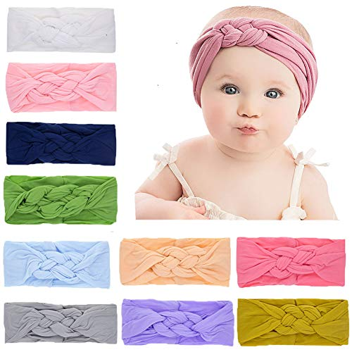 Baby Nylon Knotted Headbands Girls Head Wraps Newborn Infant Toddler Hairbands and Bows (Multicoloured ZLZBK450)