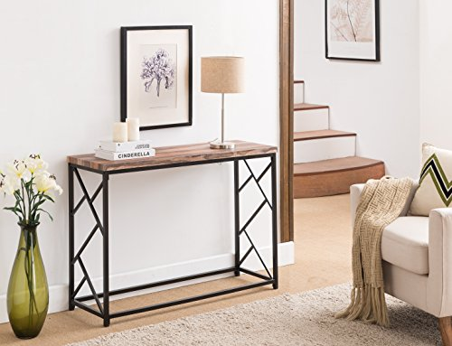 Reclaimed Weathered Oak Finish Top / Black Metal Frame 2-tier Sofa Console Table with Abstract Side Design 44.5″W