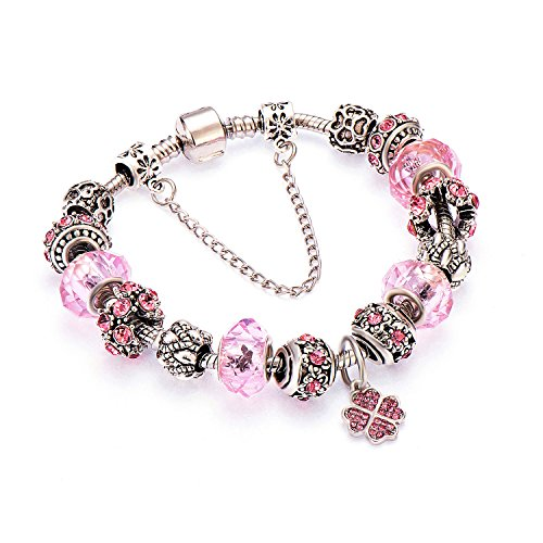 POSHFEEL Women's Four Leaves Clover Charm Bracelet Tone Silver Snake Chain with Double Link, 7.5