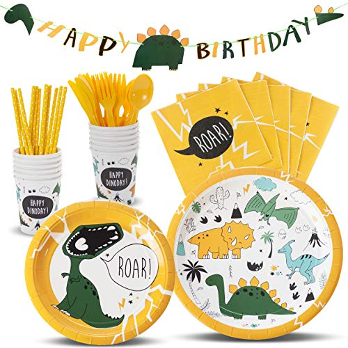 TRENDY BRANDY Dinosaur Childrens Party Supplies, Boys and Girls Theme Party Set for Kids, Serves 12]()
