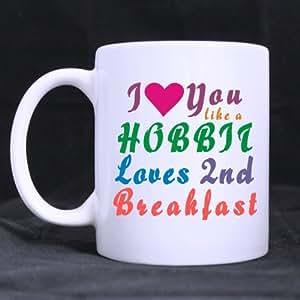 Divertido Hobbit taza–Fashion I Love You como un Hobbit ama 2nd desayuno taza de café o taza de té–11onzas
