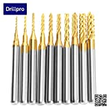 Drillpro 10Pcs 0.8 - 3 mm Titanium Coat Carbide End Mill Engraving Bits CNC Rotary Burrs Set, 1/8'' Shank