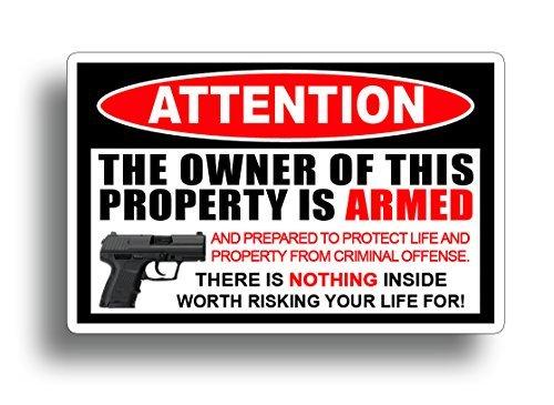 215 DECALS Second 2nd Amendment Handgun Pistol Warning Decal Sticker Gun price tips cheap