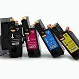 4PK Coloner(TM) Premium Toner Cartridge-1 Black, 1 Cyan, 1 Yellow, 1 Magenta Compatible Dell E525W Color Laser All-in-One Multifunction Wireless and Cloud Ready Printer