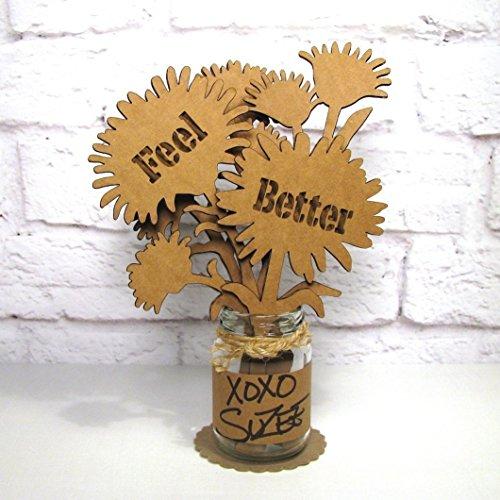 FEEL BETTER Mini Mason Jar Flower Arrangement Cardboard Bouquet Get Well Gift (Get Well Bouquets)